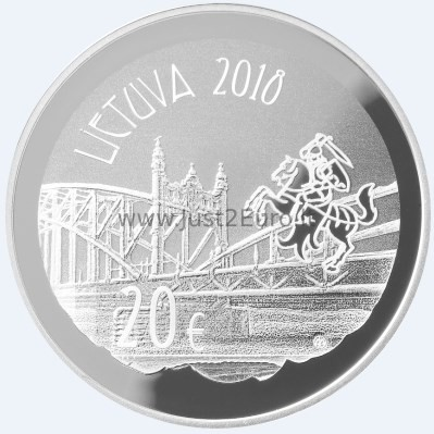 "Lithuania 20 euro 2018 /""Vilhelmas Storosta-Vydūnas/"" PROOF Silver"